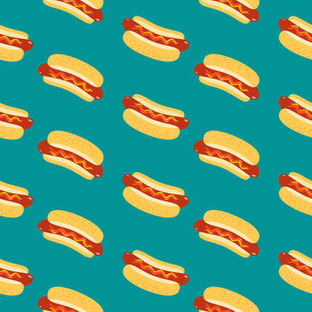 Hot Dogs vector seamless pattern background. Sausage in bun, sesame seeds, ketchup sauce cartoon design element. Fast street food snack wallpaper doodle illustration. Hot Dog Day template background