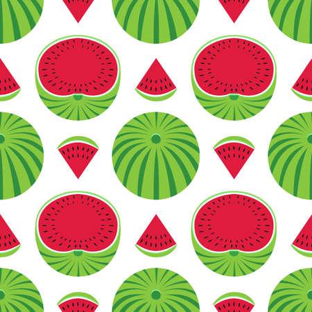 Watermelons decorative vector pattern seamless pattern background. Watermelon fruit slice cartoon design element illustration. Summer sweet berry decorative ornate wallpaper, flat color print template