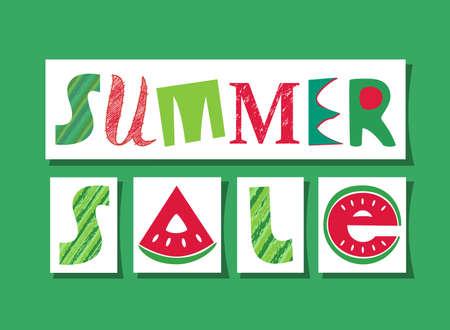 Summer Sale fancy lettering vector signboard. Flat watermelon colors design element of season special price hot deal campaign banner template. Summer seasonal fair invitation background illustration Иллюстрация