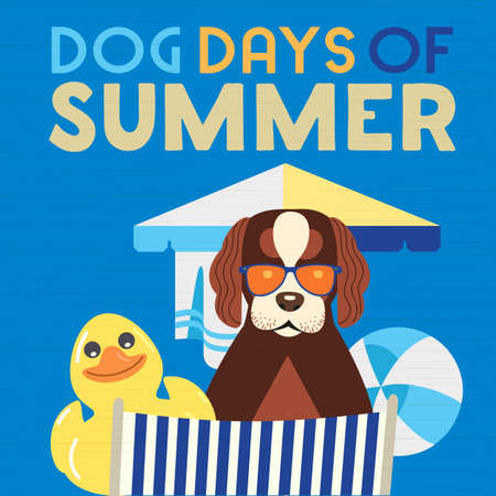 Dog days of Summer Time for adventure. Cute comic vector cartoon in humor retro style. Canine in sunglasses enjoy beach leisure relax rest. Summertime fun vacation journey banner background template Иллюстрация