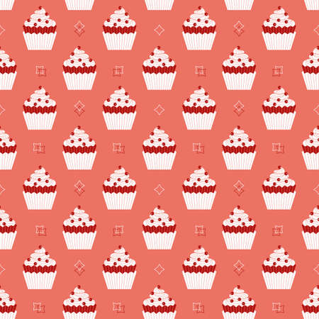 Cupcakes with berries minimalist seamless vector pattern background. Sweet food cartoon design element. Pink flat color cupcake doodle wallpaper. Sweet dessert cake ornate illustration, print template Иллюстрация