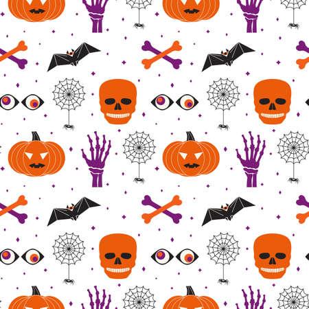 Halloween holiday funny symbol set seamless vector pattern. Cute pumpkin, skull bones, black spider web cartoon design element. Halloween decorative print, wallpaper banner, background illustration Иллюстрация
