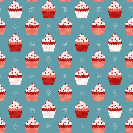 Cupcakes with red berries minimalist seamless vector pattern background. Sweet food cartoon design element. Decorative cupcake doodle wallpaper. Sweet dessert cake ornate illustration, print template