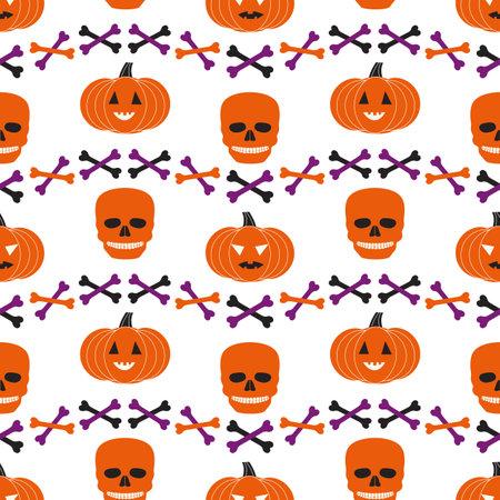 Halloween holiday funny icons seamless geometric vector pattern. Cute scary pumpkin, skull bones cartoon design element. Halloween celebration decorative print wallpaper banner background illustration