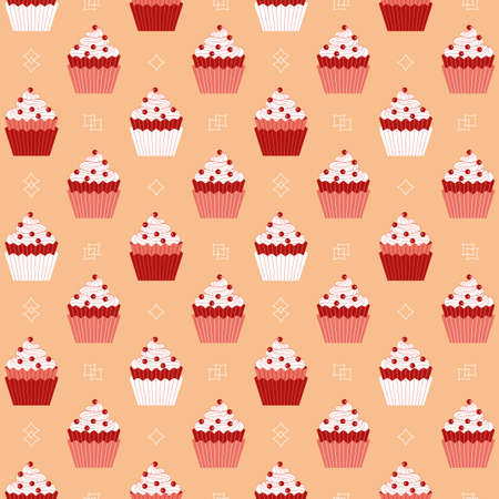 Cupcakes with red berries minimalist seamless vector pattern background. Sweet food cartoon design element. Flat color cupcake doodle wallpaper. Sweet dessert cake ornate illustration, print template