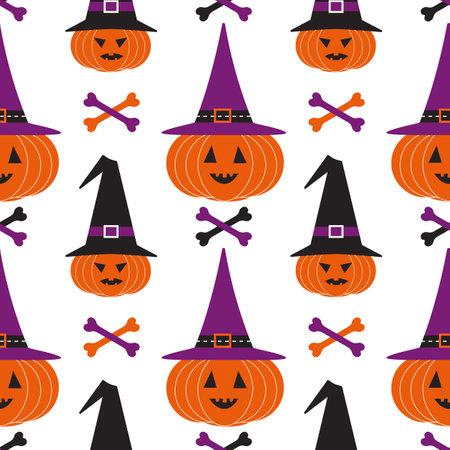Halloween holiday funny seamless geometric vector pattern. Cute scary pumpkin in witch hat bones cartoon design element. Halloween celebration decorative print wallpaper banner background illustration