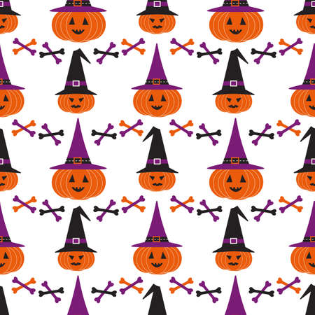 Halloween holiday funny seamless geometric vector pattern. Cute scary pumpkin, witch hat spooky cartoon design element. Halloween celebration decorative print wallpaper banner background illustration