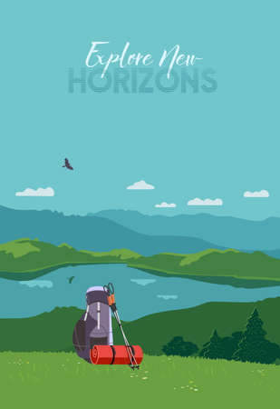 Tourist mountain hiking flat color vector poster. Outdoor hike in wild nature cartoon illustration. Adventure journey trip backpack, trekking poles design element. Tourist travelling banner background