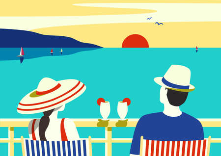 Couple enjoy ocean cruise vacation vector poster. Female, male watching sunset simple pop art style illustration. Tourists relax sailing on cruise ship vessel. Romantic seascape scenic view background