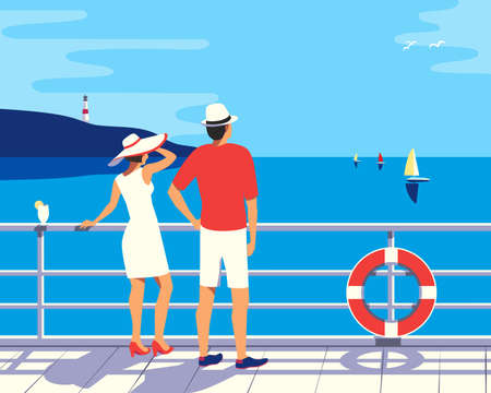 Couple enjoy ocean cruise vacation vector poster. Female, male on ship vessel deck simple pop art style illustration. Tourists relax sailing on cruise liner. Romantic seascape scenic view background