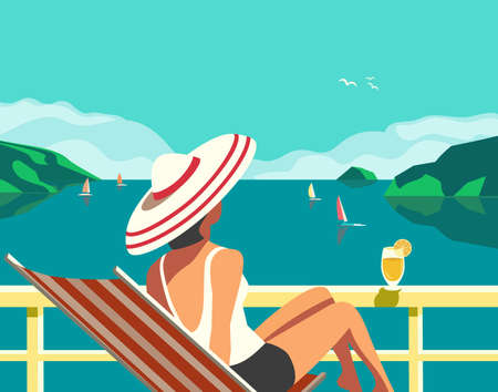 Cruise vacation concept flat color vector poster. Summer seaside landscape, ocean scenic view cartoon illustration. Holiday vacation season sea travel leisure. Tourist trip advertisement background Иллюстрация