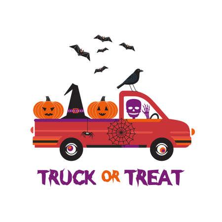 Fancy Halloween Truck or Treat flat vector poster. Cute holiday jack-o-lantern, witch hat, skull, bat cartoon design element. Happy holiday fun event background. Halloween scary pumpkin illustration