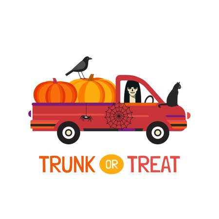 Fancy Halloween Trunk or Treat flat vector poster. Holiday truck with scary ghost, pumpkins, black cat, crow cartoon design element. Halloween decor. Happy holiday fun event background illustration