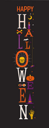 Happy Halloween fancy letters vector poster. Halloween pumpkin, skull, bat, spider, witch hat cute signs cartoon design element. Holiday party decorative welcome banner, black background illustration