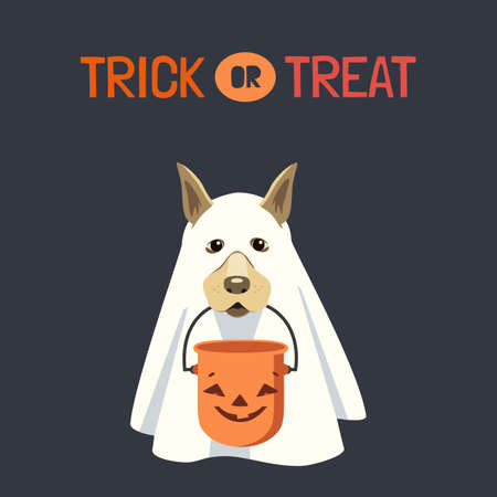 Dog in ghost costume with Halloween bucket vector illustration. Cute spooky ghost dog, candy bucket cartoon design element. Trick or Treat fun background. Happy Halloween holday celebration decoration Иллюстрация