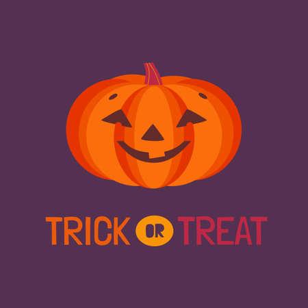 Jack-o-lantern Halloween pumpkin flat vector icon. Fancy trick or treat poster template. Cute smiling carved pumpkin cartoon design element. Happy Halloween holiday event fun decorative illustration