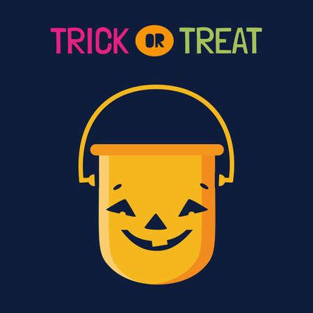 Halloween Trick or Treat pumpkin candy bucket vector icon. Cute scary pumpkin cartoon design element. Halloween party fun Treat candy bucket sign illustration. Happy holiday kids event background