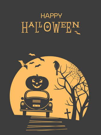Happy Halloween holiday fancy minimalist vector poster. Cute scary spooky signs in simple minimal style illustration. Black orange color Halloween greeting card. Holiday celebration banner background