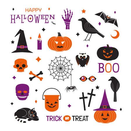 Halloween holiday cute minimalist vector icons set. Spooky characters flat design element. Scary pumpkin, witch hat, skull, balck cat, crow cartoon illustration. Happy Halloween fun event decoration Иллюстрация