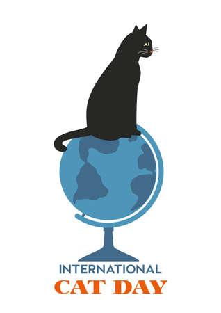 International Cat Day minimal flat style typography vector poster. Kitten sitten on globe cartoon design element illustration. Domestic pet holiday background. World Cat day celebration greeting card