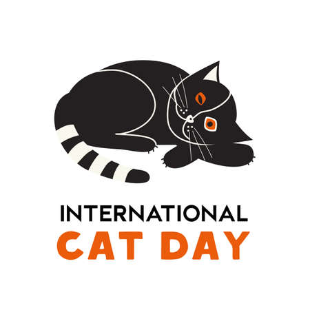 International Cat Day minimal flat color vector. Cute black kitten cartoon design element illustration. Domestic pet world holiday celebration typography poster background. Happy Cat day greeting card