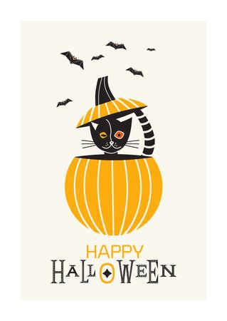 Happy Halloween fancy minimal style vector poster. Cute black Halloween cat in pumpkin design element. Little kitten sitting in pumpkin, black bats cartoon illustration. October holiday greeting card