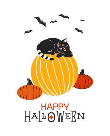 Happy Halloween fancy minimal style vector poster. Cute black Halloween cat on pumpkin design element. Little kitten laying on pumpkin, black bats cartoon illustration. October holiday greeting card