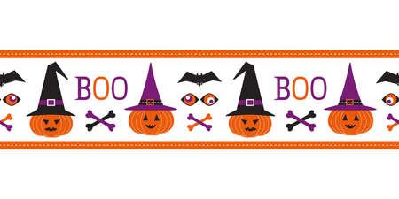 Halloween scary pumpkin seamless vector border. Cute pumpkins, witch hats cartoon design element. Halloween pattern frame. October spooky holiday decorative ribbon, celebration invitation background