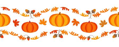 Happy Thanksgiving Day holiday geometric seamless vector border pattern. Cute pumpkin, oak leaves nuts cartoon design element. Autumn Fall harvest holiday festival celebration background illustration
