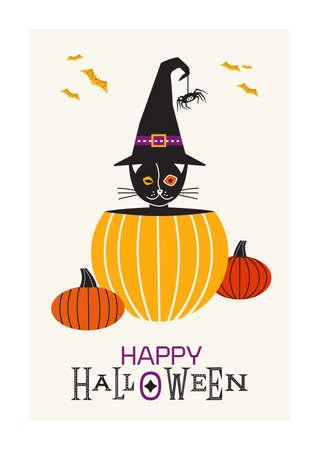 Happy Halloween fancy minimal style vector poster. Cute black Halloween cat in pumpkin design element. Little kitten in witch hat, pumpkins, bats cartoon illustration. October holiday greeting card Иллюстрация