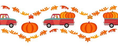 Red farm truck with pumpkins flat color seamless vector border. Fall season pumpkin harvest pick of patch background. Farm pickup design element. Autumn vegetables harvest frame template illustration
