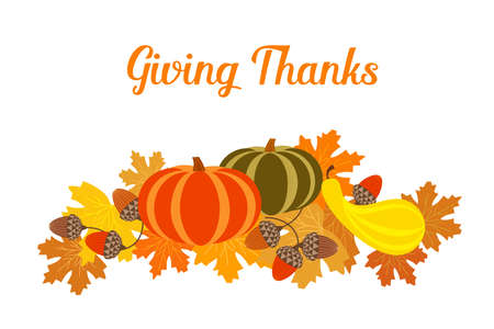 Thanksgiving Fall harvest greeting vector background illustration. Autumn color Maple Leaves, Pumpkin, Oak Acorn nut cartoon design element. Hand drawn Happy Giving Thanks holiday festive celebration Иллюстрация