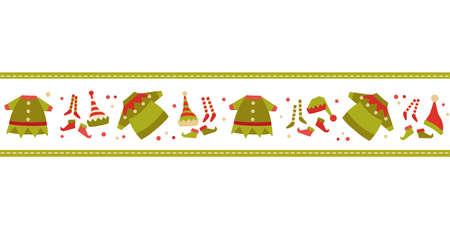 Christmas Elf costume cute vector seamless border. Santa Claus Helper clothing, elves hat, stocking shoes cartoon design element. Christmas Holiday fun celebration decoration background illustration
