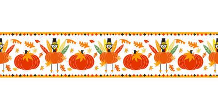 Thanksgiving Day holiday fancy seamless vector flat border pattern. Cute turkey pumpkin cartoon design element. Hand drawn autumn Fall harvest holiday festival celebration background illustration