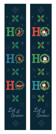 Christmas vertical banner decorative vector porch set. Xmas Porch Sign. Home Wall Door Holiday Party Decor, New Year Outdoor Indoor Christmas Decoration. cute festive Иллюстрация