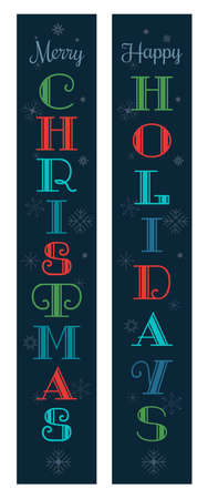 Christmas holidays decorative porch sign vector set. Cute festive Christmas vertical banner design. Xmas home wall door Holiday Party decor, New Year outdoor indoor Winter holiday decoration template