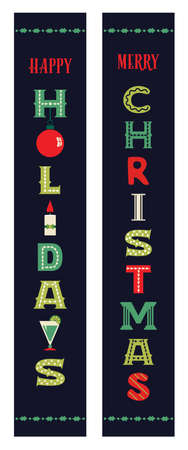 Christmas holidays decorative porch sign vector set. Festive Christmas sings vertical banner design. Xmas home wall door Holiday Party decor, New Year outdoor indoor Winter holiday decoration template