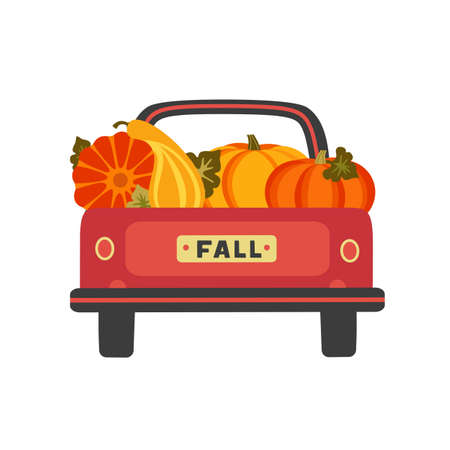 Red farm truck with pumpkins flat color vector. Fall season pumpkin harvest festive sale background. Farming pickup van cartoon design element. Autumn vegetables harvest banner template illustration