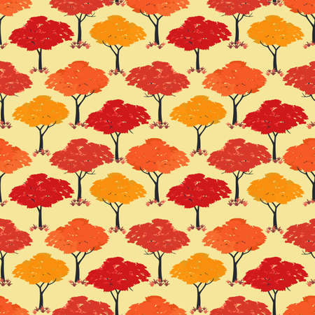 Autumn Maple trees Fall season seamless vector pattern. Beautiful Autumnal nature forest cartoon wallpaper. Fall holidays decorative design element. Maples in park, woodland background illustration