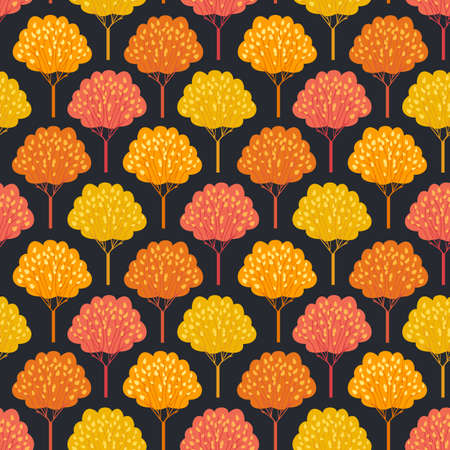 Autumn trees Fall season seamless vector pattern. Beautiful Autumnal forest cartoon wallpaper. Thanksgiving holiday decorative design element. Fall trees in park, woodland background illustration