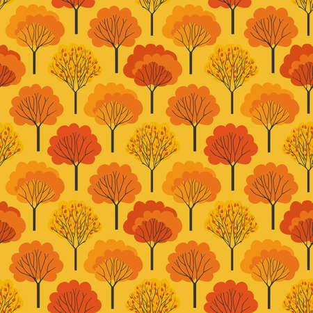 Autumn Trees Fall colors seamless vector pattern. Fall season woodland decorative background illustration. Autumn forest colorful trees pattern wallpaper. Seasonal holidays cartoon design element