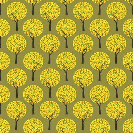 Autumn park Fall trees vector seamless pattern. Fall season woodland decorative background illustration. Autumn forest colorful trees pattern wallpaper. Seasonal holidays cartoon design element Иллюстрация