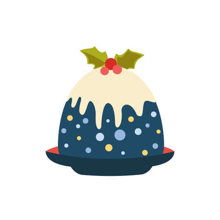 Christmas Pudding, holly berry on top simple vector icon. Winter season holiday cartoon design element. Traditional plum pudding brandy butter homemade family Christmas dessert background illustration Иллюстрация
