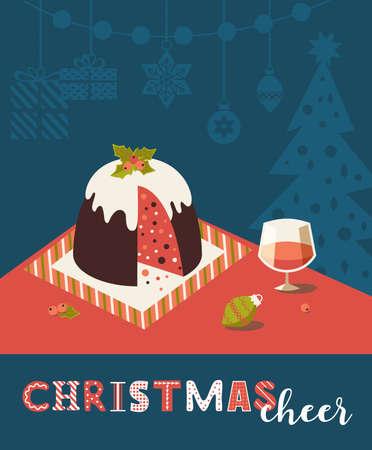 Christmas Cheer fancy holiday vector poster. Christmas pudding, wine on festive table cartoon illustration. Holiday season celebration vintage design element. Seasonal greeting background template