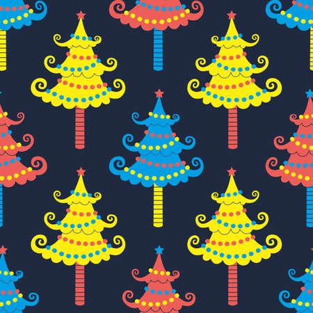 Cute Christmas trees seamless vector pattern. Winter season holidays sign bright color background. Christmas ornament cartoon illustration. New Year, X-mas festive geometric design wallpaper template