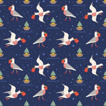 Christmas quirky seagull with gift seamless vector pattern. Cute sea gull bird in Santa costume cartoon illustration design element. Playful birds deliver x-mas presents. Holiday wallpaper background