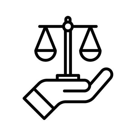 Justice, law, hand, scale, balance, auction icon vector image. Can also be used for banking and finance. Suitable for use on web apps, mobile apps and print media.