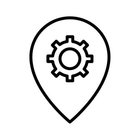 Options, pin, settings icon vector image. Can also be used for Maps and Location. Suitable for use on web apps, mobile apps and print media.