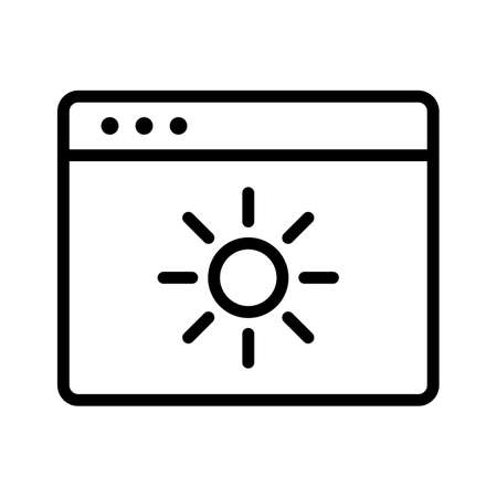 Webpage, brightness, enhance icon vector image. Can also be used for Webpages. Suitable for use on web apps, mobile apps and print media.