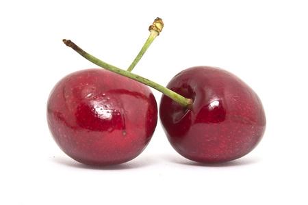 exempted: Cherries on white background